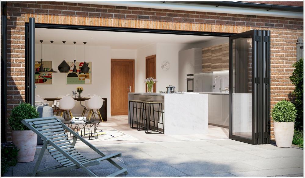 Surface Finished Aluminum Horizontal Sliding Folding Door for House orVilla