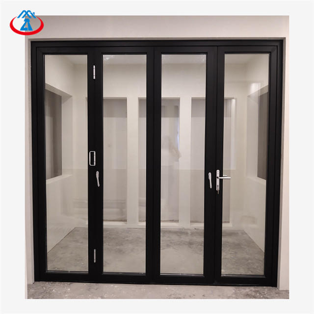 Black 16 feetW*8 feetH Double Tempered+LOW+E Glass Aluminum Frame Thermal Insulation Folding Door Manufacturer