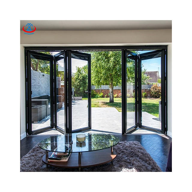 Luxury Veranda Insulated Tempered Glass Living Room Folding Doors Alumim Folding Doors