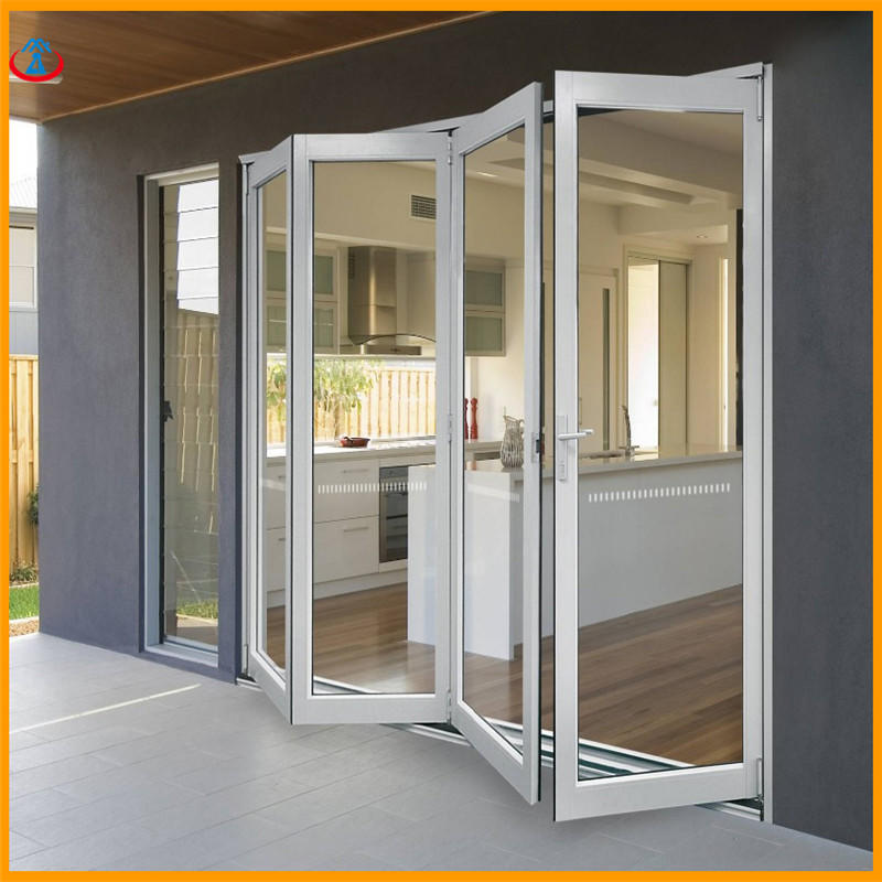 White 4880mmW*2440mmH Double Tempered Glass Aluminum Frame Thermal Insulation Folding Door