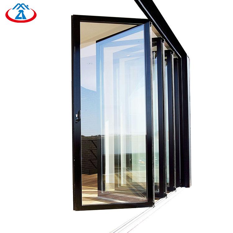 Powder Coating Aluminum Tempered Glazed Exterior Foldable Door Glass Folding Doors