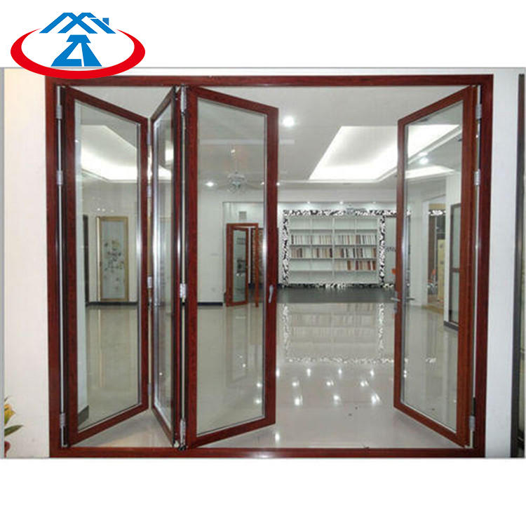 Wood 4880mmW*2440mmH Double Tempered Glass Aluminum Frame Thermal Insulation Folding Door