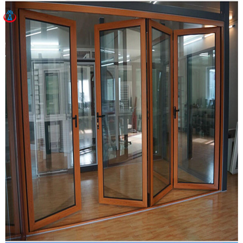 Wood 4880mmW*2440mmH Double Tempered+LOW-E Glass Aluminum Frame Thermal Insulation Folding Door