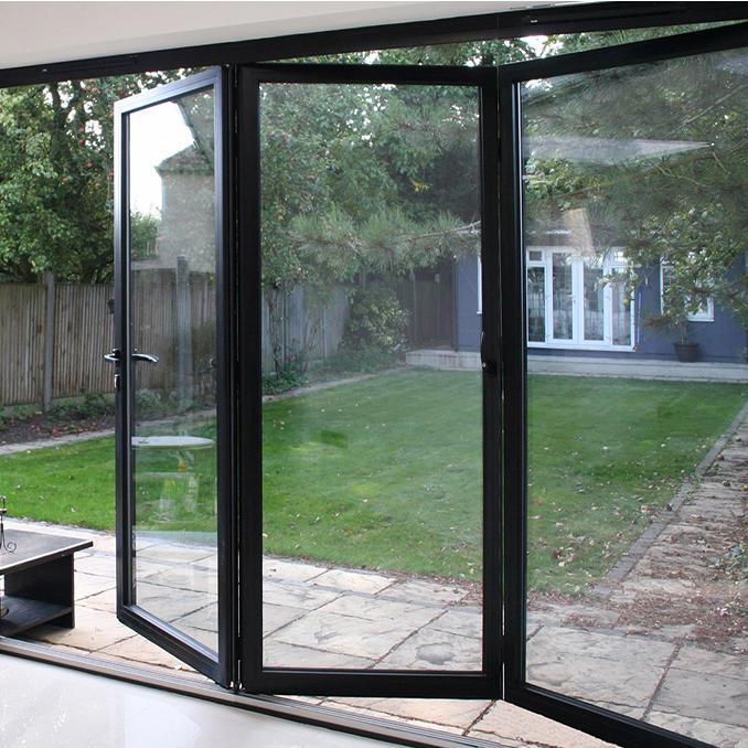 Sound Insulation 5mm+24mmA+5mm Glass Black Frame Color 2.0mm Aluminum Frame Aluminum Folding Door