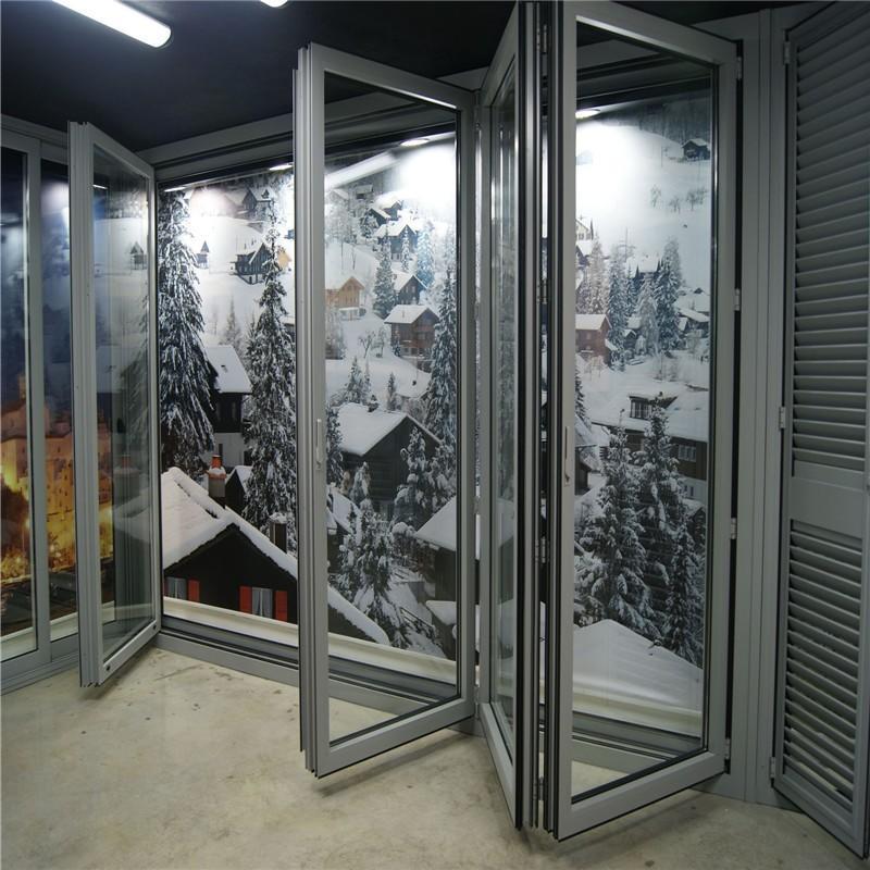Simple design aluminum glass bi-folding door for house/commercial