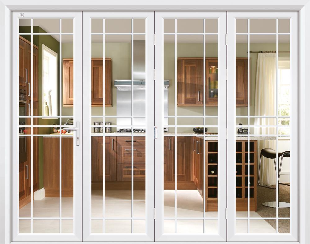 White thermal break double glass aluminium exterior patio folding doors