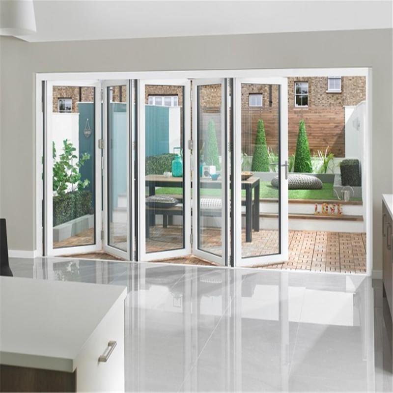White 12*8 feet interior door aluminum frame with double tempered glass bifold door