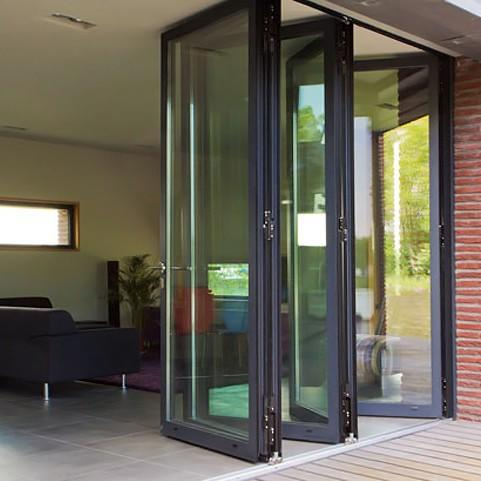 Best Quality Clear Tempered Glass Aluminum Frame Heat Prevention Aluminum Folding Door