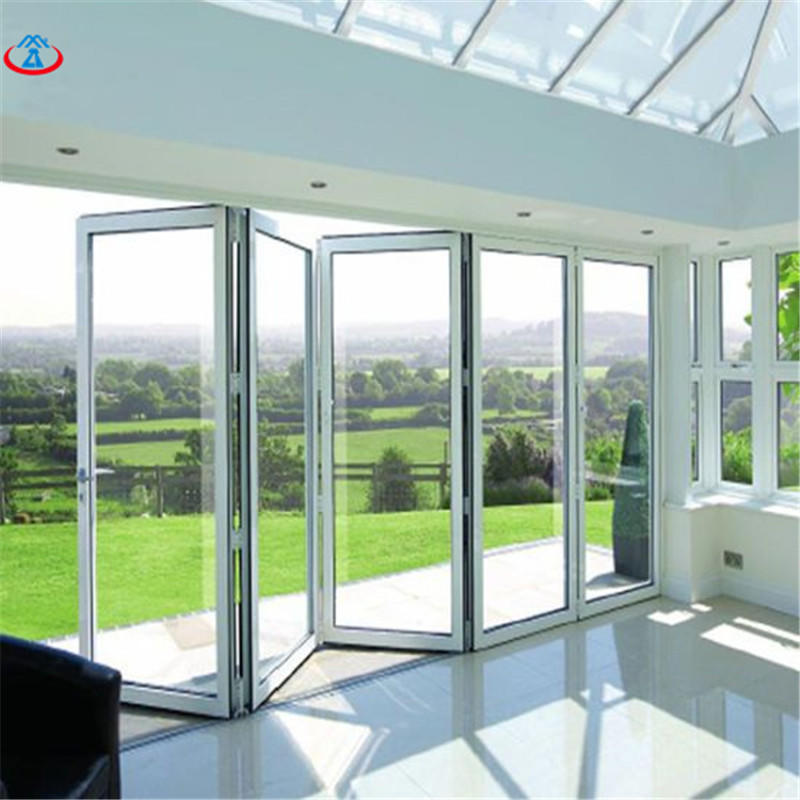 White 4880mmW*2440mmH Double Tempered+LOW-E Glass Aluminum Frame Thermal Insulation Folding Door