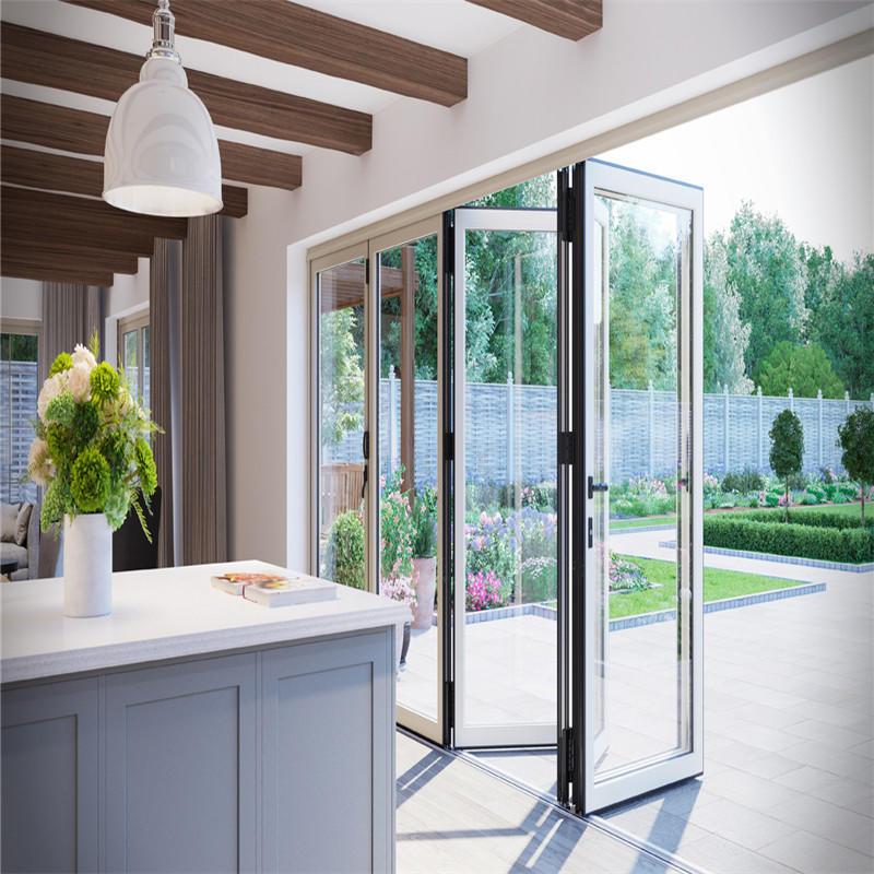 Soundproof Bi Fold Aluminum Accordion Folding Foors Glass Folding Sliding Glass Doors