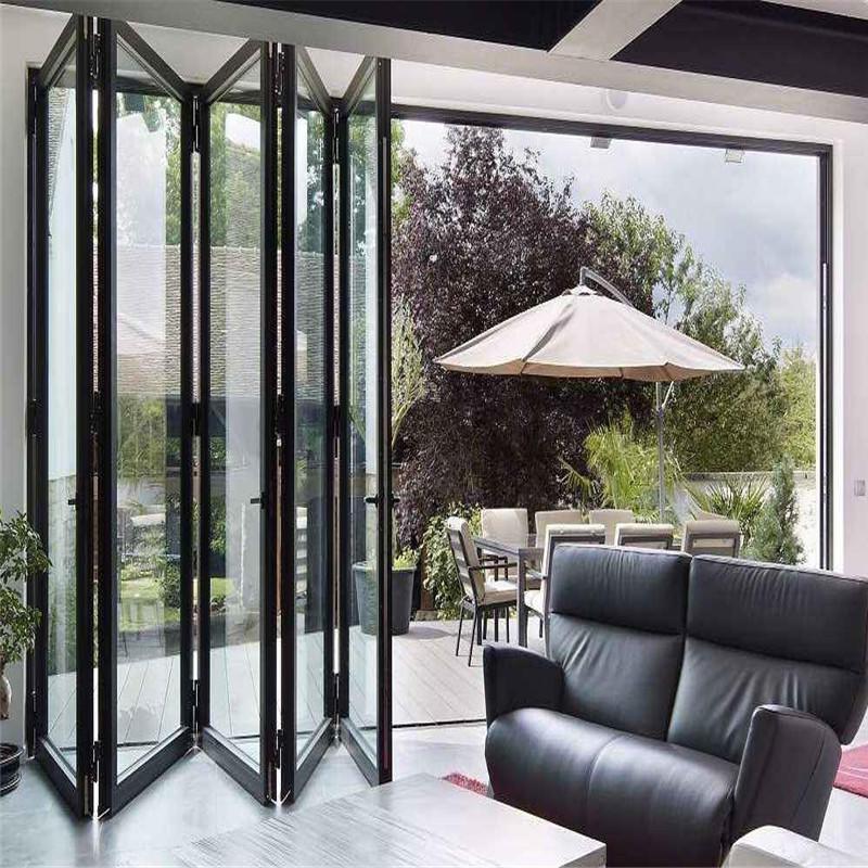 12*7 feet black thermal break aluminum double tempered glass folding doorbifold door