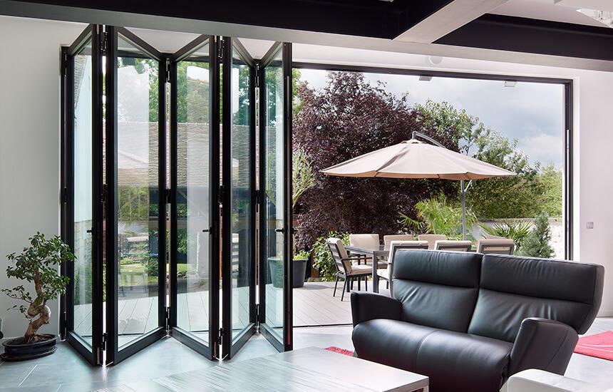 Exterior Windproof Aluminum Double Tempered Glass Patio Folding Door