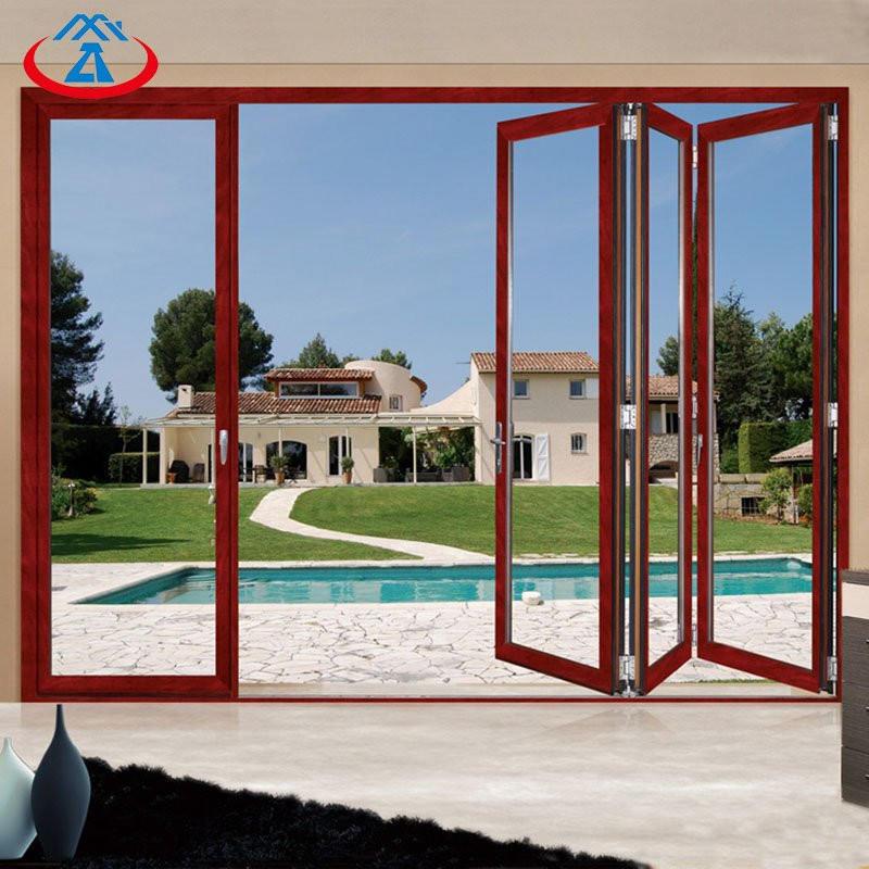 Residential Aluminum frame Tempered glass bifold/folding door used exterior doors