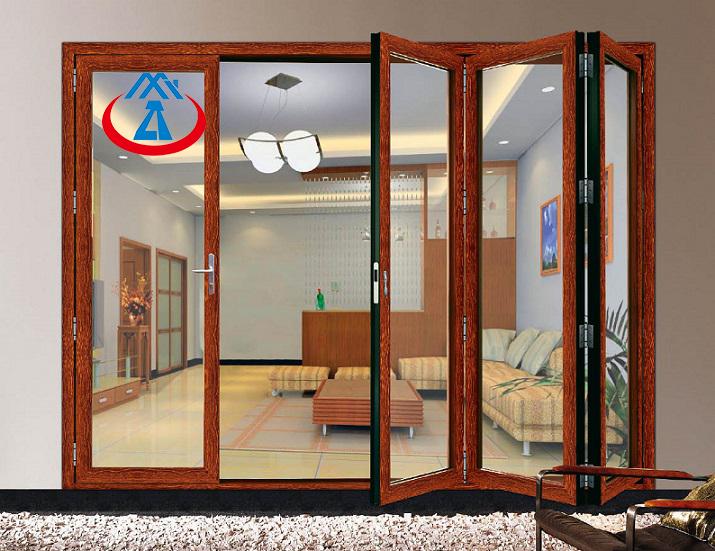 New Design Aluminium Frame Wooden Colour Folding Door