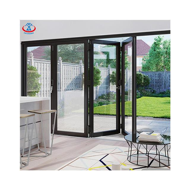 Customized Color Outdoor Thermal Break Double Glazed Metal Folding Doors Exterior Accordion Patio Doors