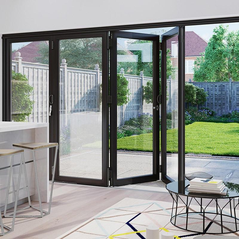 1800*2400 mm Folding Glass Doors Drawing Room Aluminium Folding Metal Doors