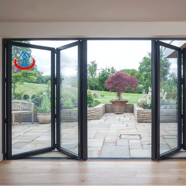 Aluminum Exterior Bifolding doors With Tempered Glass Foldable Door for Home