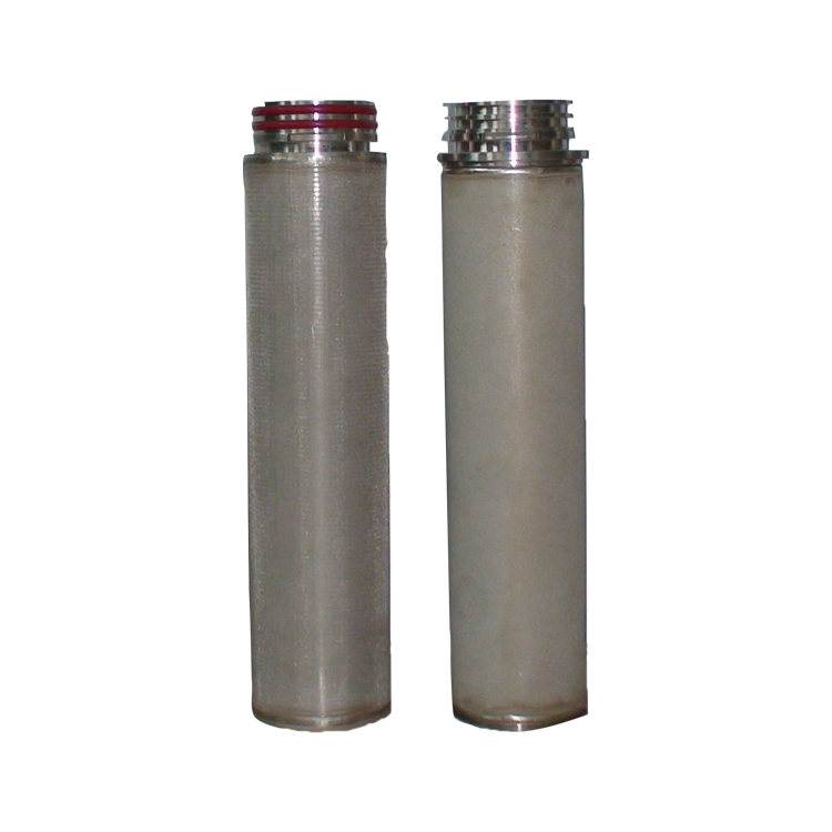 Stainless steel mesh sintering SS304 316L 40 micron sintered metal liquid filter cartridge with DOE silicone gasket opened