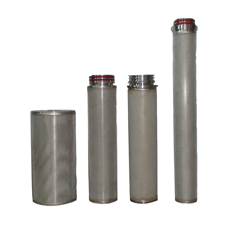 Pure stainless steel Industrial 5/10/50 microns sintered hydraulic filter cartridge for high temperature liquid treatment