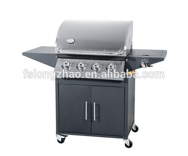 SUS201 Stainless Steel Burner and 4 wheels Commercial Gas Grill BBQ HSQ-B114S