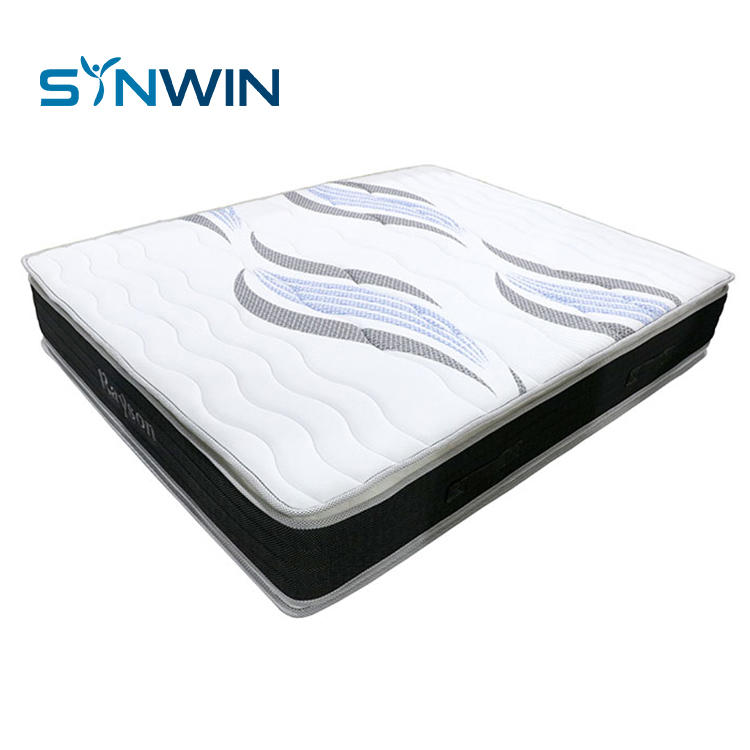 32cm Double pillow top mattress hotel bed king size spring mattress