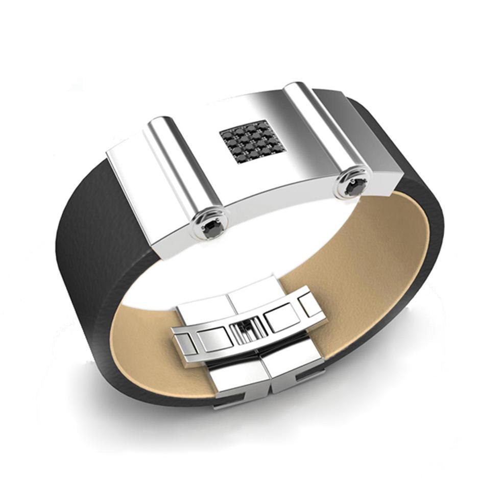 Men accessories black cz inlaid genuine leather bangle