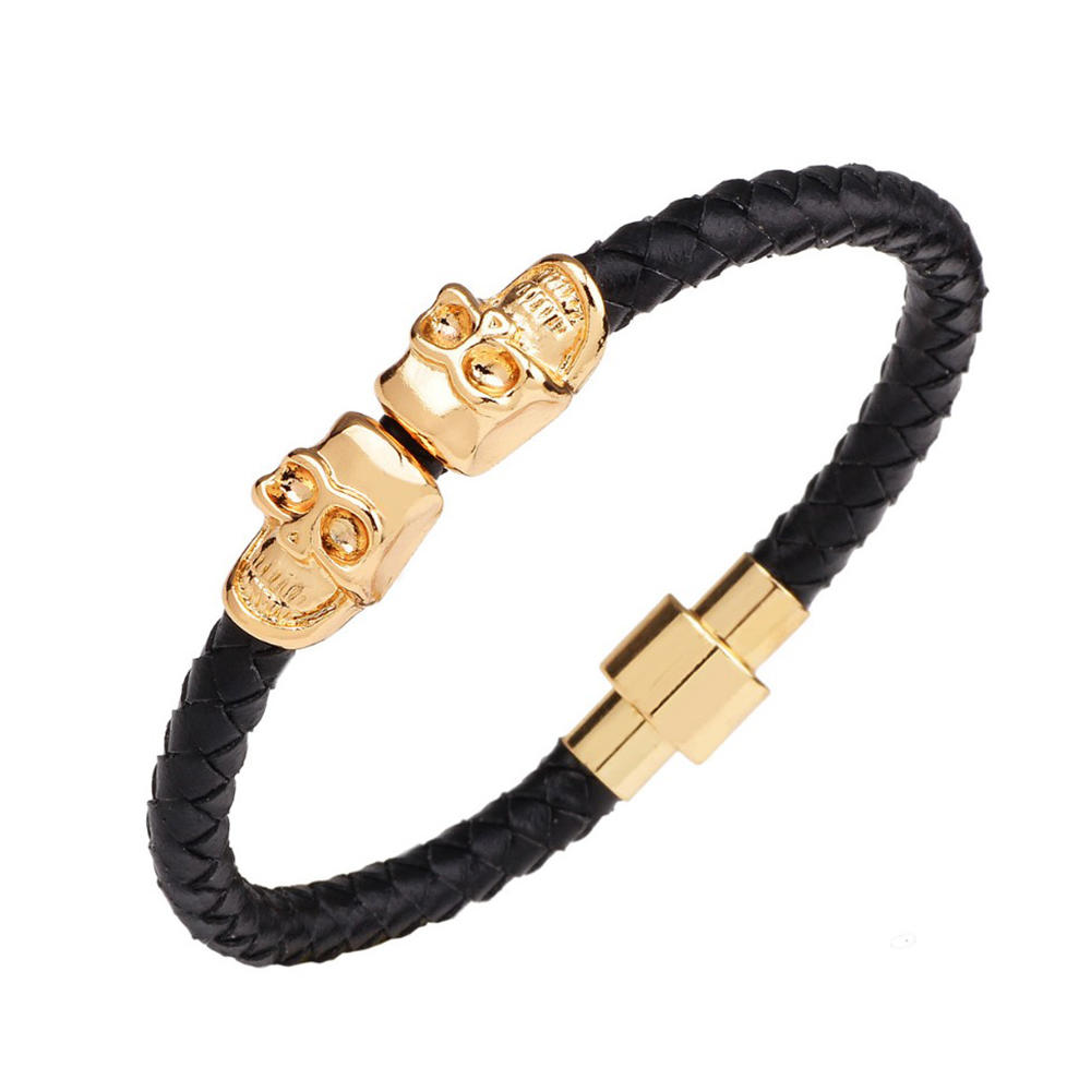 Flexible Design Bead Skull Mens Leather Braided Magnetic Buckle Bracelet
