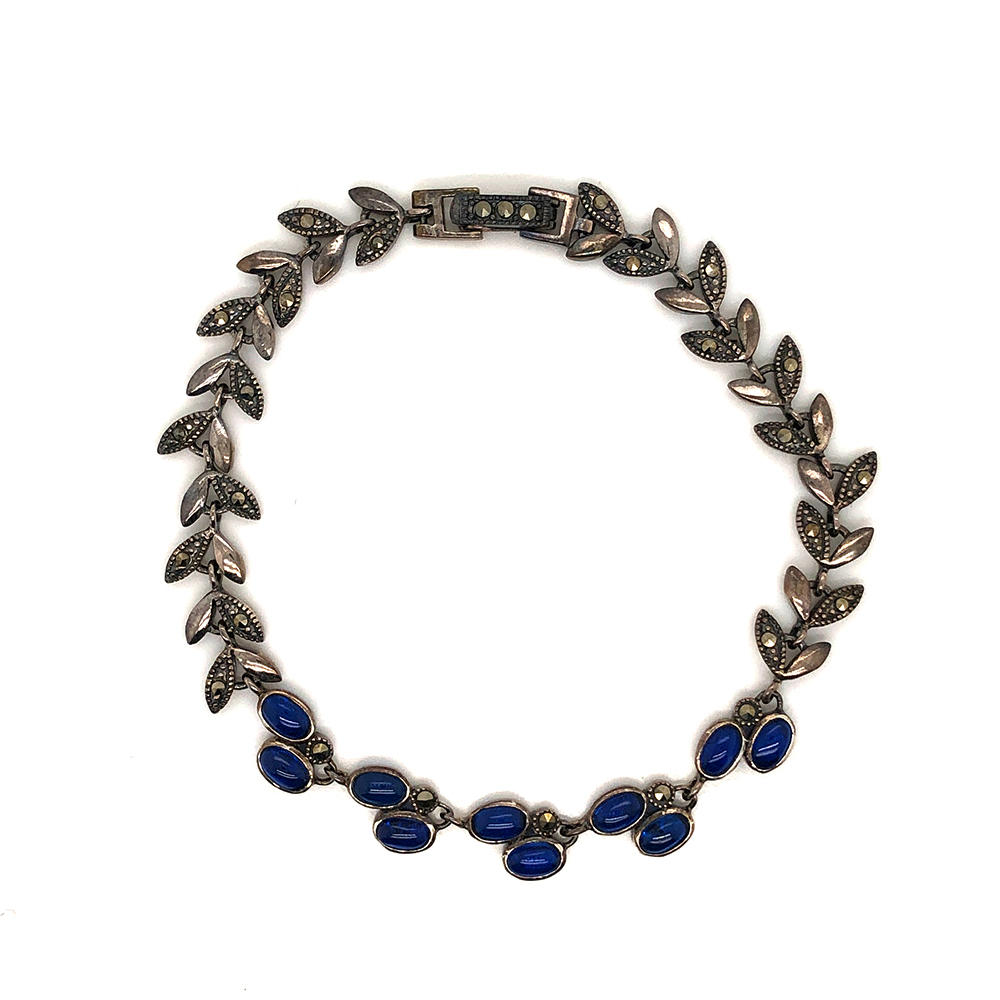 Blue Stone Leaf Chain Bracelet Silver Marcasite Jewelry Wholesale