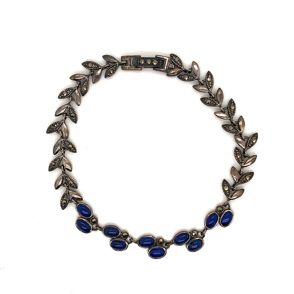 Blue Stone Leaf Chain Bracelet Silver Marcasite Jewelry Wholesale