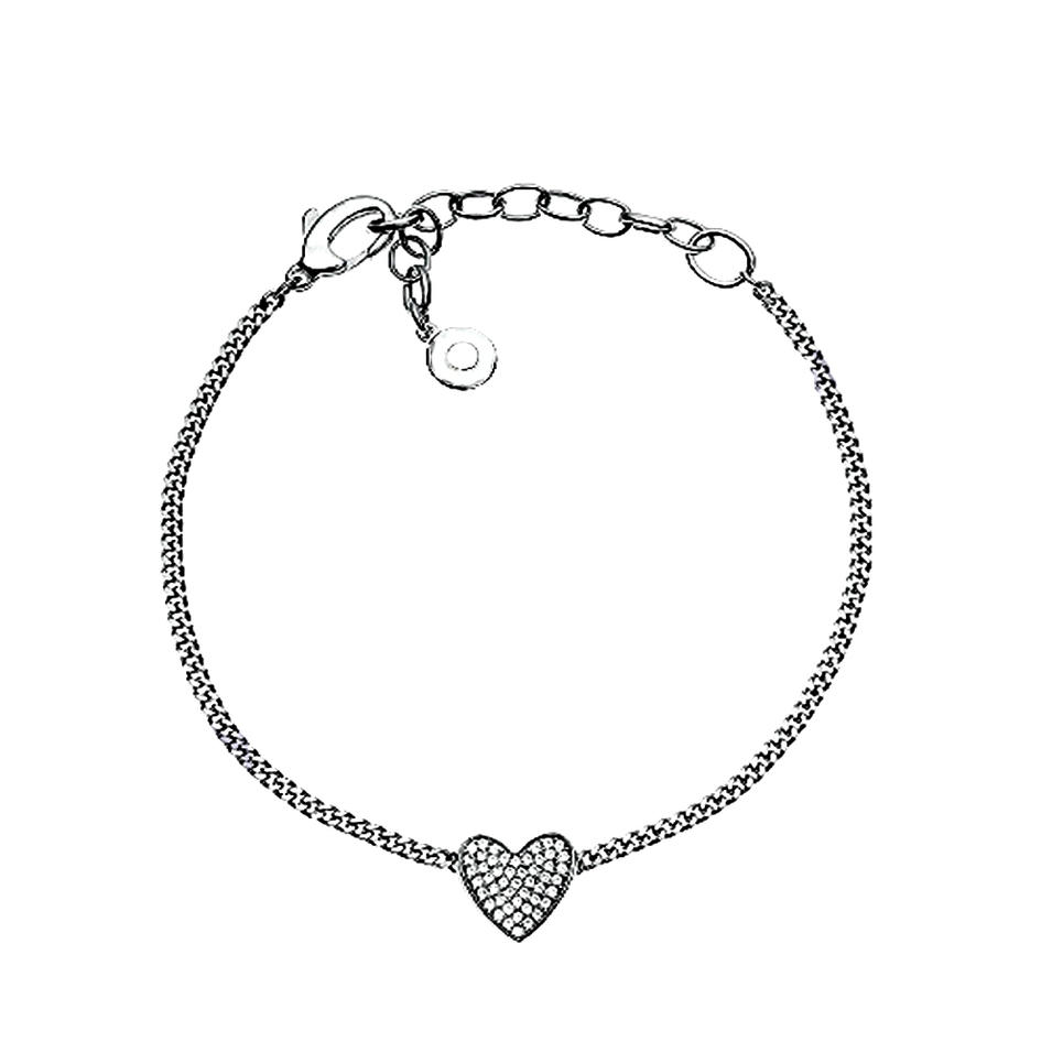 Hot topic 925 silver chain cz love heart rate bracelet