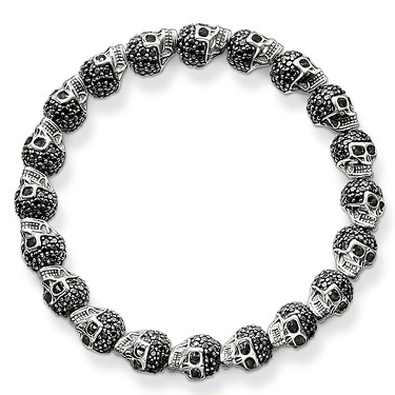 Black Onyx Silver Skull Wholesale Lucky Stone Bracelets