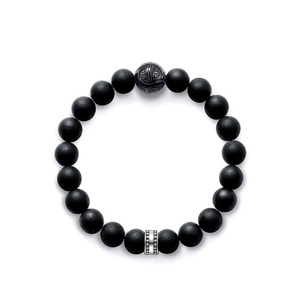 Smart black bead shiny unisex 925 sterling sliver bangles