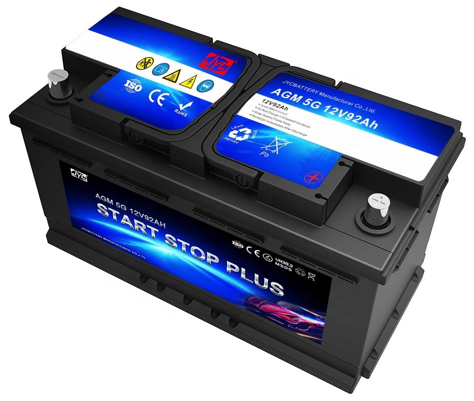 Factory wholesale 12V 92AH Car Battery Auto AGM Start Stop Car Battery for engine start stop