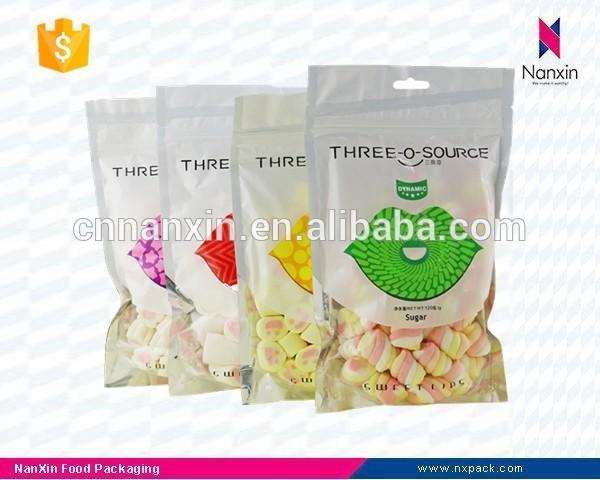 candy packaging zipper pouch for marshmallow with window