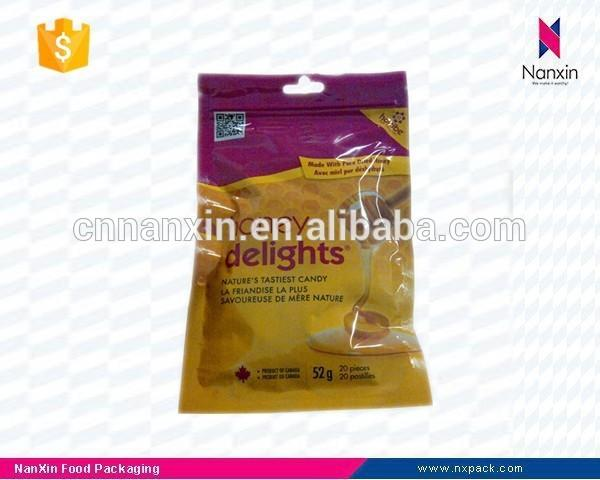honey flavor candy packaging three side seal bag