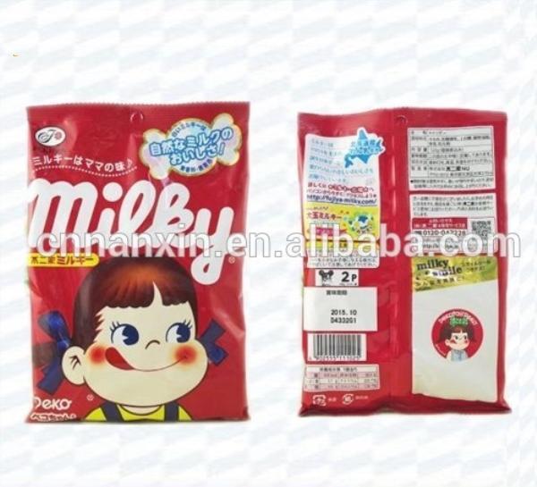 plastic cartoon design candy packaging back seal bag