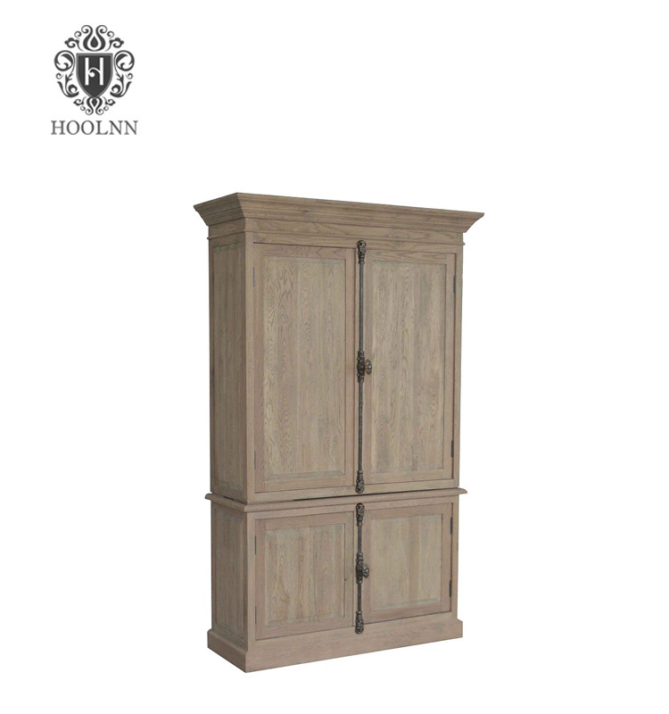 HL778 French Antique Base Tall Thin Storage Bedroom Closet Wooden Armoire Clothes Wardrobe Cabinet