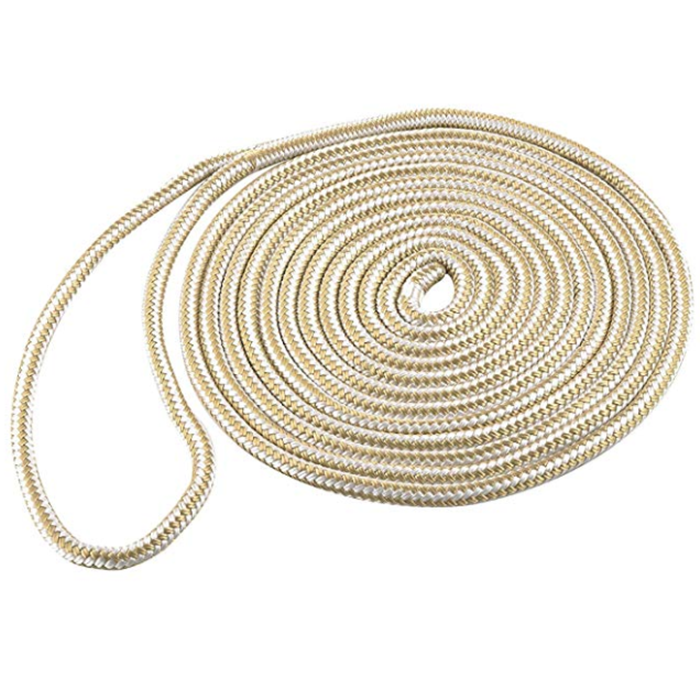 5/8double braided nylon rope designed for general marine industrial and commercial use where controlled elongation high strength