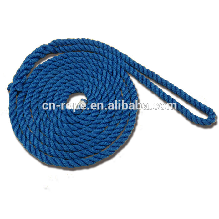 best selling product 10mm nylon 3 strand mooring docking anchoring lines boat rope accessory