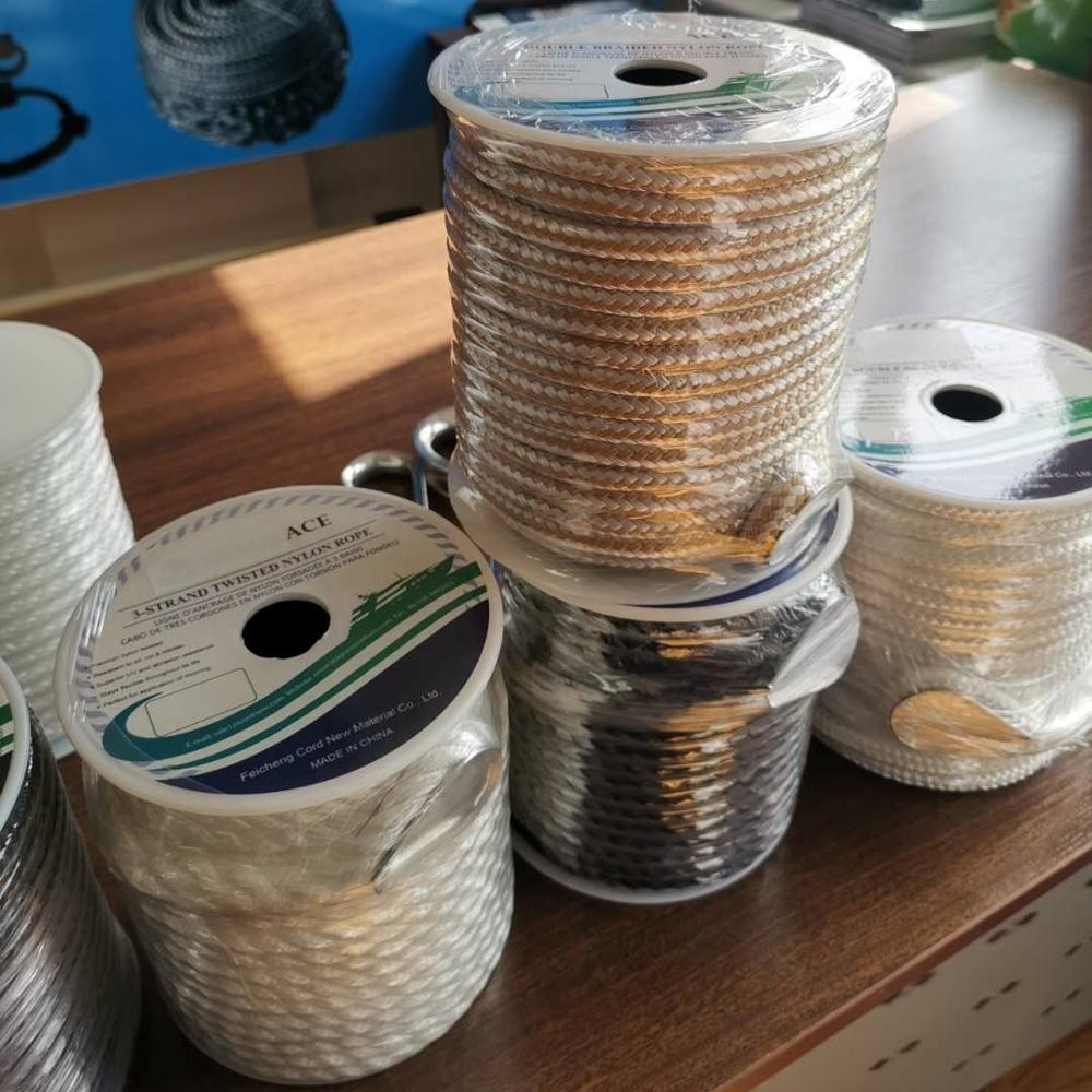 Top performance customized package and size double braidednylon marine rope with reel