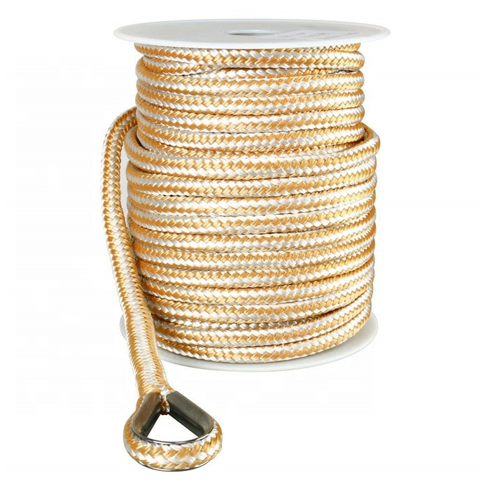Top quality customized package all kinds of size double braided nylon/polyester marine ropeanchor line