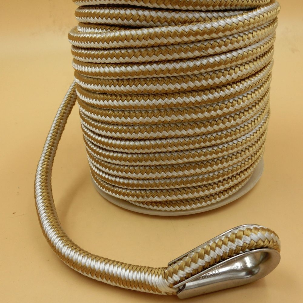 Top performancecustomized package and sizedouble braidednylon polyester anchor line with 316 stainlessthimble