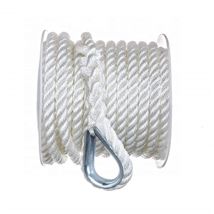 Top quality customized package and size Nylon/ Polyester 3 strand twistedmarine rope for sailing boat, yacht marine rope