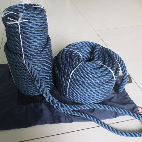 High quality wholesale customized package pp/polyester/ nylon3 strand twisted anchor line rope for yacht marine rope