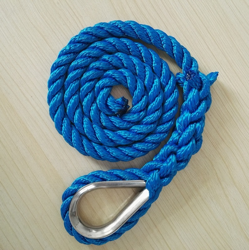 High quality customized package and size3 strand twisted anchorline marine rope for sailboat, yacht marine rope