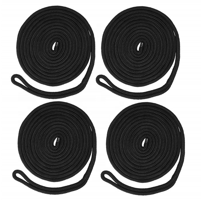 High lever quality customized package and size double braided nylon fender line dock line marine rope in 2 or 4 pack