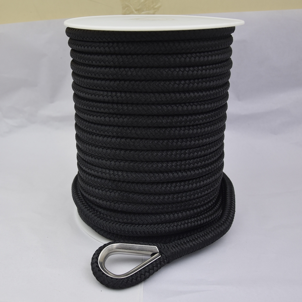 High quality customized package and size Nylon/ polyester double braided anchor line rope for sailboat, yacht marine rope