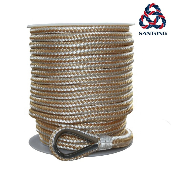Wholesale Hot sale and quality customized package and size double braided nylon/polyester marine ropeanchor line mooring rope