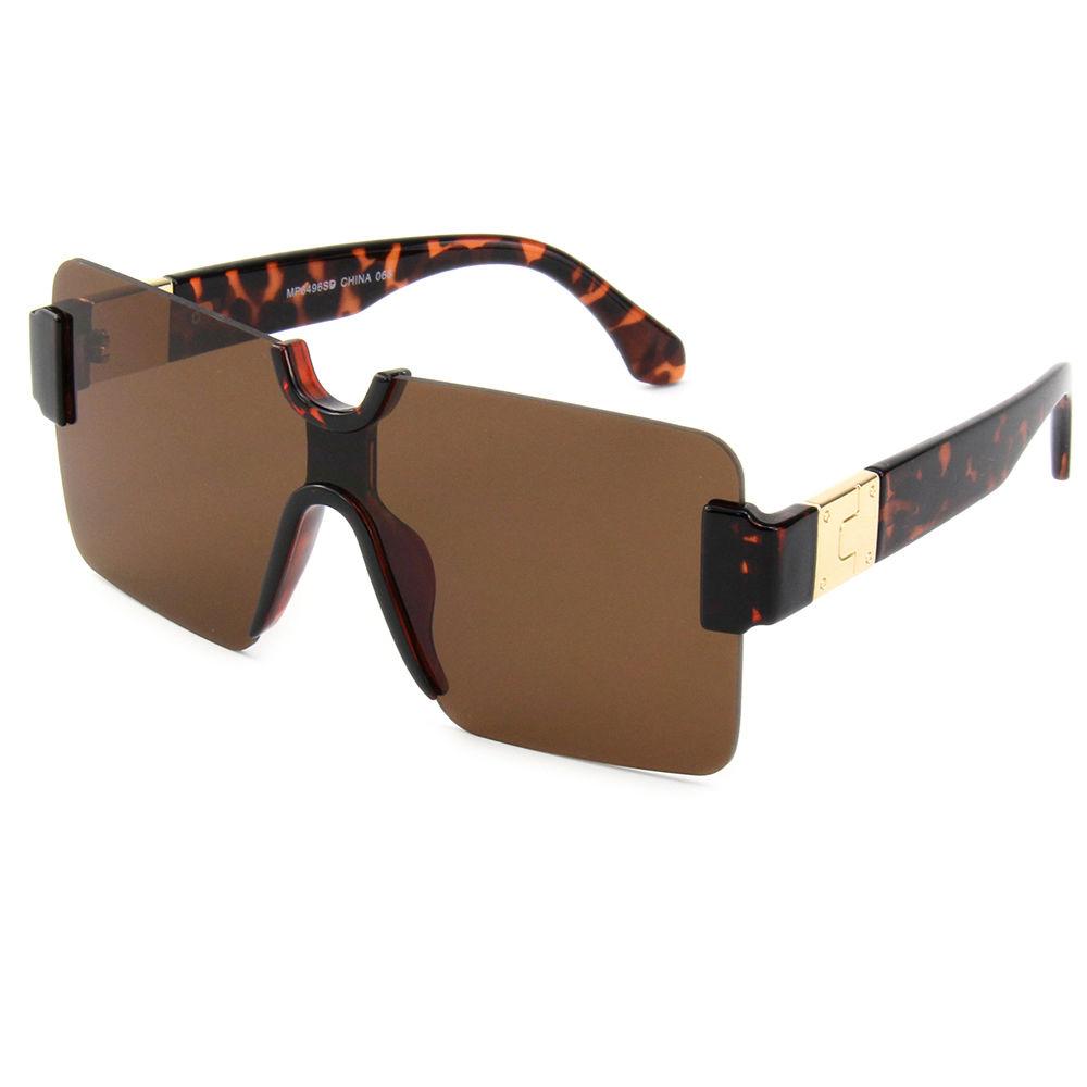 EUGENIA Big Shades Rimless Frame Metal Decoration Tortoise Color Women Oversize Sunglasses