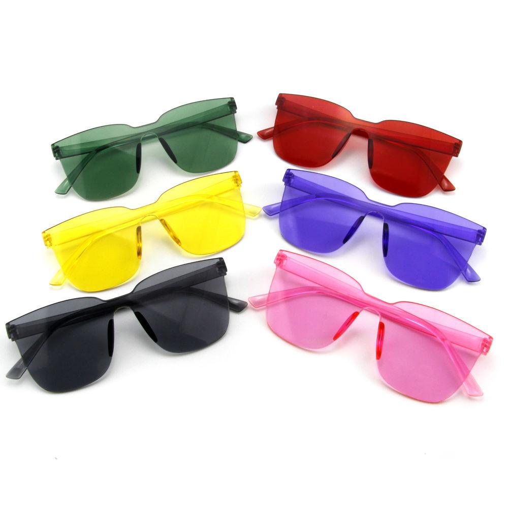EUGENIA One Piece Square Shape Newest Colorful Jelly Color Transparent Sunglasses